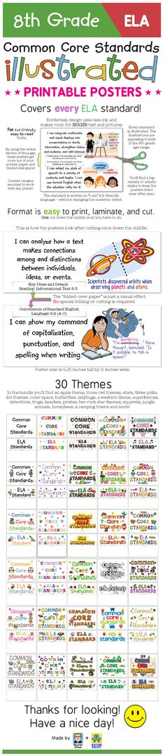 """These posters for the 8th grade English-Language Arts Common Core Standards bring the standard to life and make it easier to understand with age-appropriate illustrations and kid-friendly """"I can"""" language. The posters have a unique borderless design that will get the most out of your wall space, paper, and ink. 30 themes to choose from. Or you can use them without a theme. Big, colorful, age-appropriate posters for the eighth grade ELA common core! $"""