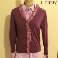 J Crew Purple Cardigan Purple wool with satin and lace ruffle cardigan.  Previously loved and taken care of!  No flaws. J. Crew Sweaters Cardigans