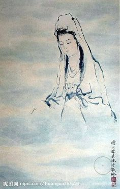GUANYIN: the patroness saving people from calamities Japanese Painting, Chinese Painting, Chinese Art, Buddha Painting, Buddha Art, Buddhist Traditions, Guanyin, Beautiful Drawings, Gravure