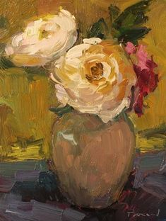 """Daily Paintworks - """"White Roses"""" - Original Fine Art for Sale - © Kathryn Townsend"""