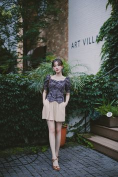 Dress Skirt, Shirt Dress, Linen Shorts, Korea Fashion, My Outfit, Pretty Girls, Designer Dresses, Korea Style, Girly