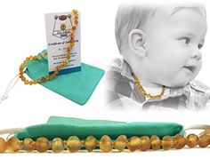 1 AMBER TEETHING NECKLACE FOR BABIES  Teething Pain  Drooling Anti Inflmmatory Unisex  Organic Teething Relief  Highest Quality Honey * Be sure to check out this awesome product.