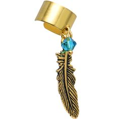 Handcrafted Gold Plated Feather Ear Cuff MADE WITH SWAROVSKI CRYSTALS | Body Candy Body Jewelry