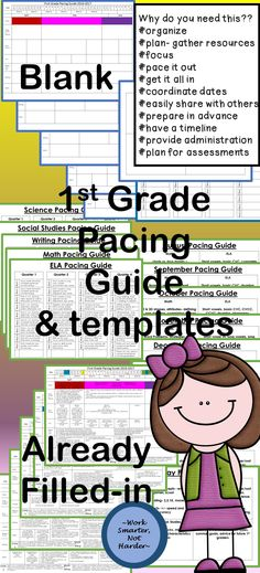 This tool will help you organize the school year, see the whole year in one easy tool, and share with others! A Year-at-a-glance time line that will make planning a snap and help you pace out content so you get to everything! Math Resources, Math Activities, Reading Resources, First Grade, Grade 1, Creative Teaching, Teaching Ideas, Pacing Guide, Thing 1