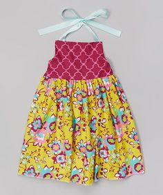 Cranberry & Mustard Floral Halter Dress - Infant, Toddler & Girls by Heavenly Things for Angels on Earth #zulily #zulilyfinds