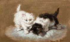 Two Kittens on a Pillow by Henriette Ronner Knip | Art Posters & Prints