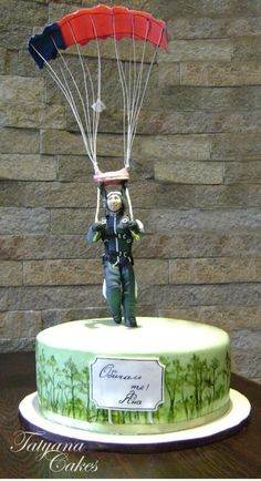 landing by parachute  Cake by tatyana_cakes