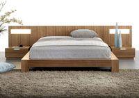 La chambre à coucher Stella de Mobican: lit et tables de nuit avec panneaux lumineux / Mobican's Stella bedroom with bed and lighted night tables #jensenlewis #mobican #bedroom #stella #lightedNightstands