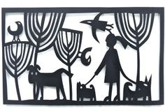 Dog Walking  Papercut by Caroline Rees www.blastedglass.co.uk