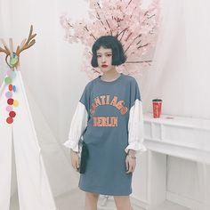 レディースファッション通販ロゴ プリント フリル ボリューム スリーブ Tシャツ チュニック ワンピース