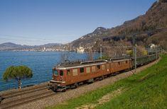 Ae 8/8 der BLS (Bern - Lötschberg - Simplon - Bahn) zwischen Villeneuve und Veytaux-Chillon, Schweiz