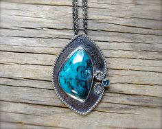 RESERVED (balance due) - Shattuckite necklace. Sterling silver teal bluependant with blue topaz. Turquoise blue gemstone pendant.