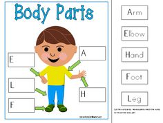 Labeling Body Parts Vocabulary mats- Part of my MY BODY comprehensive teaching unit for Kindergarten.  Click on the picture to see more. Enjoy Marcelle