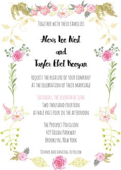 Watercolour floral wedding invites by Thehappycreations  #weddinginvites #watercolor