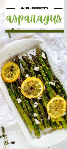 This fast and easy Air Fried Asparagus is a recipe I turn to again and again. Here I pair perfectly cooked crisp-tender asparagus with a kick of garlic and top it off with zippy lemon juice, lemon zest and creamy goat cheese. This is a tried and true weeknight keto staple that comes together in a flash. It is simply the BEST. No air fryer? You can make this in the oven too. Gluten Free Recipes For Breakfast, Healthy Gluten Free Recipes, Gluten Free Dinner, Healthy Recipes For Weight Loss, Vegetarian Recipes, Fried Asparagus, How To Cook Asparagus, Side Dish Recipes, Dinner Recipes