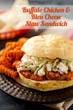 Buffalo Chicken & Bleu Cheese Slaw Sandwich - Krafted Koch - A spicy chicken fillet topped with bold  bleu cheese  broccoli slaw for a sandwich with amazing flavor and crunch!