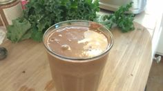 Chocolate Milkshake Kale Smoothie Recipe     1 cup of ice water     1 cup of cashews     1 banana     5 dates     ¼ cup cacao powder     2 leaves kale