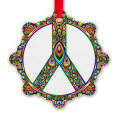 ☆SOLD on #CafePress!☆   #Peace #Symbol #Psychedelic #Art #Ornament!   Thanks a lot to the Customer! (ツ)  http://www.cafepress.com/+peace_symbol_psychedelic_art_de_snowflake_ornament,1143220393