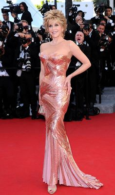 Jane Fonda Versace sequined dress Cannes 2012 Red Carpet.  Wow.