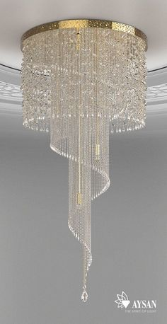 spiral crystal chandelier idea by aysan home decor ideas www aysan com homedec - All For Decoration Chandelier Design, Luxury Chandelier, Luxury Lighting, Ceiling Design, Interior Lighting, Luxury Interior, Home Lighting, Chandelier Lighting, Crystal Chandeliers