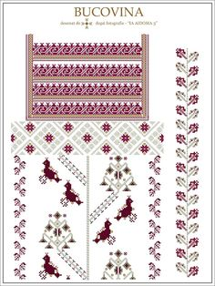 Semne Cusute: IA AIDOMA 003 - Bucovina, ROMANIA Cross Stitch Borders, Cross Stitch Designs, Cross Stitch Patterns, Embroidery Motifs, Embroidery Designs, Craft Patterns, Beading Patterns, Weaving, Handmade