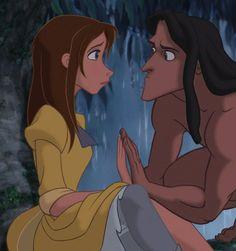 Day favorite romantic moment - When Tarzan holds his hand up to Jane's Walt Disney, Tarzan Disney, Disney And Dreamworks, Disney Art, Disney Pixar, Disney Characters, Disney And More, Disney Love, Tarzan Y Jane