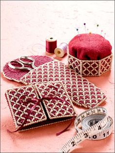 Featuring classic colors and an innovative stitch pattern, these useful accessories will make lovely gifts for Mother's Day! Skill Level: Intermediate