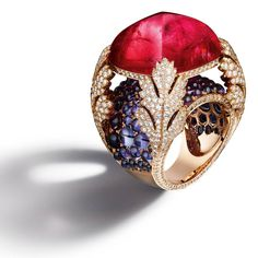 Diamonds, purple sapphires and rubellite for a one-of-a-kind jewel by Giampiero Bodino.