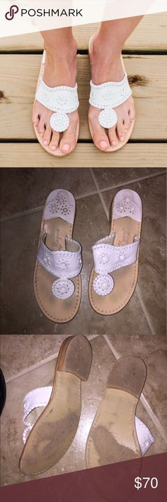 Jack Rogers White Sandals Super cute & summer jack Rogers 'Jack' white sandals. Definitely loved on but still in great condition. No stains or wear on the white parts! Jack Rogers Shoes Sandals