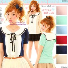 navy/sailor collar, short sleeved, multitude of colors