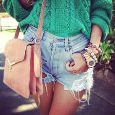 i love chunky sweaters with high waisted shorts