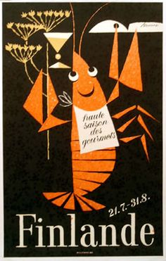 Super cute.. Appeals to the Bong in me. Vintage travel poster, Finland, Braun, 1960