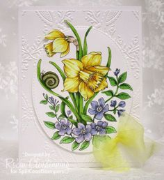 handmade card: CAS Daffodils by Stamperrobin  ... digi image from Power Poppy ... luv the realistic flowers ... background with rich embossing folder texture ... beautiful Spring look ...
