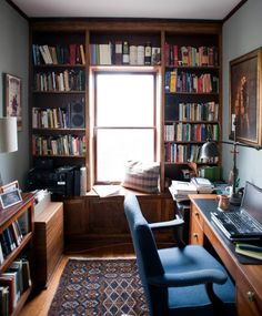 Modern Home Office Design Cool Office Space, Home Office Setup, Office Style, Office Ideas, Home Library Design, Office Interior Design, Office Designs, Small Home Offices, Small Home Libraries
