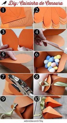 caixinha em forma de cenoura para lembrancinha de páscoa.
