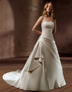 Strapless Designer Satin A-line Gown and Beaded Appliques Bodice style bridal wedding dresses