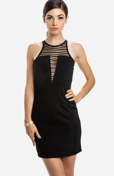 Sleeveless bodycon dress featuring an embroidered strip mesh insert on front and back of bodice, racerback and front cut, keyhole back with button at neck, and back zipper closure. Unlined.