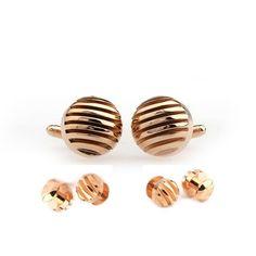 Rose Gold semicircle striped Cufflinks Tuxedo Stud Sets