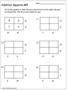 Get Your Kids to Practice Their Addition With These Math Magic Squares: Addition Square # 5