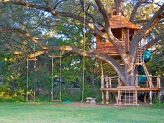 Trap doors, ladders and zip lines delight in Attie Jonker's whimsical treehouse designs.