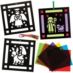 Each decoration includes card design, cellophane & ribbon#6 assorted Nativity designs#Decoration size 16cm x 16cm#Age 5+#Construct using our washable PVA glue or glue dots (not included)#A beautiful decoration for your tree or window#Cellophane colours - Blue, Red, Yellow, Orange, Green & Pink