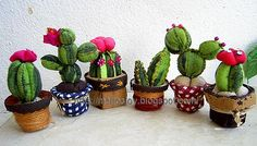 Cactus Pincushion Tutorial Instructions. Can be hand-sewn. Love how these look using an old discarded t-shirt with an interesting color pattern. MeiJosJoy blogspot.