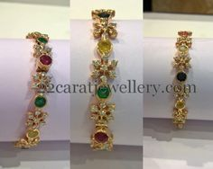 Jewellery Designs: Diamonds and Navaratan Stones Bangles