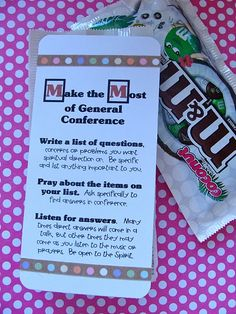 "m&m; of conference- I always take this ""conference challenge"" and it's amazing how literally it works!"