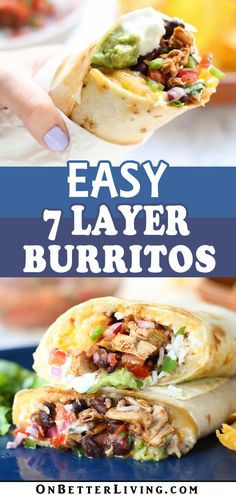 Need a quick and delicious burrito recipe using rotisserie chicken for a satisfying weeknight dinner? Get this recipe for Best Ever 7 Layer Burritos with rotisserie chicken, black beans, rice, Mexican Dishes, Mexican Food Recipes, Beef Recipes, Chicken Recipes, Cooking Recipes, Lasagna Recipes, Cod Recipes, Ramen Recipes, Lentil Recipes
