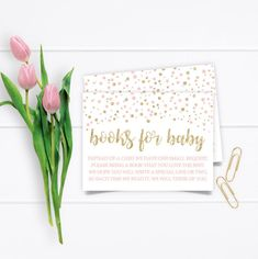 Printable Gold Glitter Confetti Baby Shower Book Request, Gold Pink Blush Confetti Baby Shower Books for Baby Card Tickets INSTANT DOWNLOAD