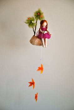 Girls Mobile Waldorf inspired needle felted doll : The fishing girl Waldorf Crafts, Waldorf Dolls, Mobiles, Needle Felted, Wet Felting, Baby Crafts, Felt Crafts, Baby Shower Deco, Elves And Fairies