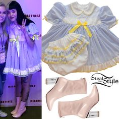 Melanie Martinez posed with fans in Oklahoma City wearing a Binkies n Bows Adult Baby Sissy Littles Eyelet Dress Set ($144.99) with Ego Chloe Perspex-Heel Ankle Boots ($42.99).