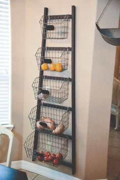 Cheap Home Decor wire baskets for storage - fresh produce container.Cheap Home Decor wire baskets for storage - fresh produce container Fruit And Vegetable Storage, Wire Baskets, Wire Basket Decor, Organizing Your Home, Organizing Tips, Decor Room, Wall Decor, Cheap Home Decor, Home Decor Ideas