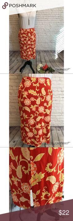 🌺 Ann Taylor orange floral skirt, size 4 🌺 Ann Taylor orange floral skirt, size 4, excellent condition Ann Taylor Skirts